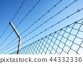 Coiled razor wire with its sharp steel barbs on top of a mesh perimeter fence ensuring safety and 44332336