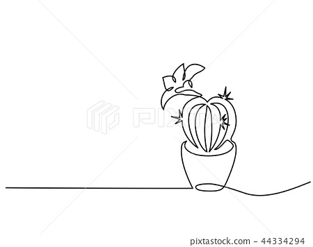 House cactus in pot Continuous one line drawing 44334294