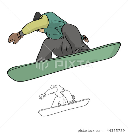 Snowboarder jumping in the air vector 44335729