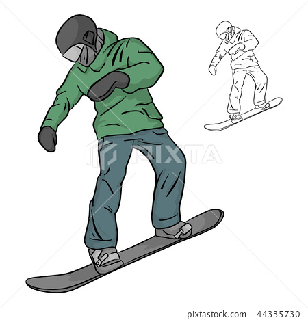 Freeride snowboarder rolls on a snow vector  44335730
