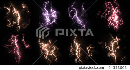 Bright and detailed thunderstorm lightning close-up material texture background, front view (high resolution 3D CG rendering ∕ coloring illustration) 44338808