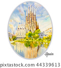 Barcelona at Spain, watercolor painting. 44339613