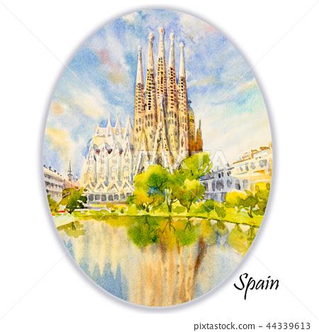 Barcelona at Spain, watercolor painting. 44339613