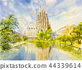 Barcelona at Spain, watercolor painting. 44339614