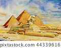 The Great pyramid with desert in Giza, Egypt. 44339616