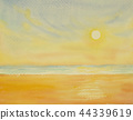 Painting watercolor seascape of sun in summery. 44339619