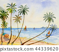 Painting watercolor seascape of family vacation. 44339620