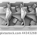 粘土渲染圖像的私人商務艙套件(中間列)佈局 44343268