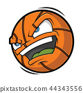 Cartoon Basketball angry face 44343556