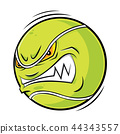 Cartoon Tennis ball angry face 44343557