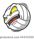 Cartoon Volleyball angry face 44343560