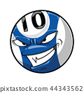 Pool ball with angry face, blue color cartoon 44343562