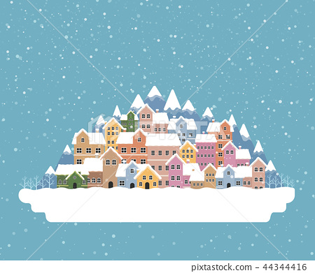 Winter town flat style with snow falling 44344416