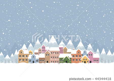 Winter town flat style with snow falling  44344418