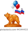 The bear statue is a symbol of power, colorful balloons and the flag of Russia isolated on white 44344433