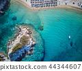 Beautiful beach top aerial view drone shot 44344607