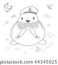 Sketch cute walrus. Vector illustration 44345025