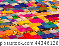 Multiple colour aerial view night flea market 44346128