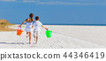 Two Children Boy and Girl Running Playing on Beach 44346419
