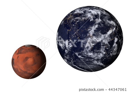 Planet Earth with mars of solar system isolated 44347061
