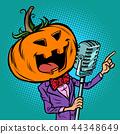 Halloween pumpkin character singer. Holiday party 44348649