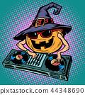 Halloween pumpkin DJ character. Musical holiday party 44348690