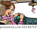 Beautiful woman driver in car. Isolate on a white background. In 44348750