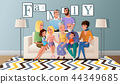 Big Family Gathered Together Cartoon Vector 44349685