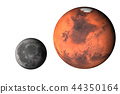 Planet Mars with moon Isolated 44350164