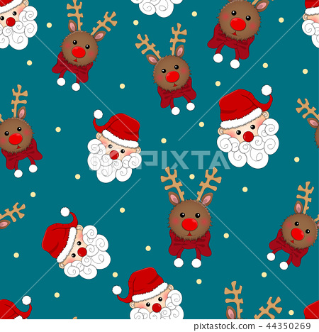Santa Claus and Reindeer Seamless Blue Background 44350269