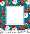 Santa Claus and Reindeer on Blue Banner Card 44350270