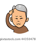 Senior man holding hand to his head. Forgetfulness, headache. Flat vector illustration. Isolated on 44350478