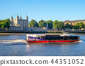 tower of london by river thames in london, UK 44351052