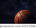 3d rendering of an orange basketball ball shown in close view in high definition on a dark 44351066