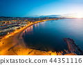 Aerial view of Barcelona Beach in summer night  44351116