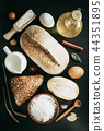 bread and bakery products on wood 44351895