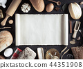 bread and bakery  ingredients on wood 44351908