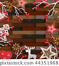 Christmas background, small rustic decorations on 44351968