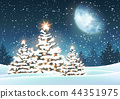Christmas tree in snowy landscape with big moon 44351975