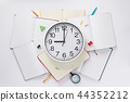 school accessories and wall clock at notebook 44352212