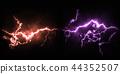 鮮豔細緻的雷雨閃電特寫材質紋理背景,正視圖(高分辨率 3D CG 渲染∕著色插圖) 44352507