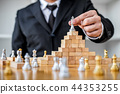 Wooden game of strategy, Hands of confident businessman playing 44353255