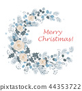 Merry Christmas wreath design. New Year decoration, vector 44353722