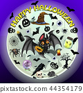 Poster on theme of the Halloween holiday party. Cute bat on background of the full moon and 44354179