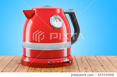 Red stainless electric tea kettle, retro design 44354806