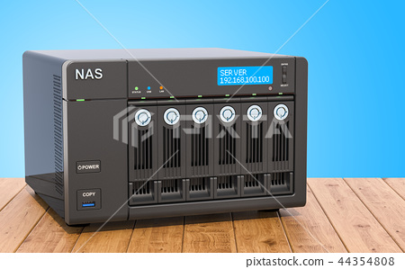 NAS with 6 disks on the wooden table, 3D rendering 44354808