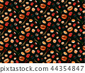 Pattern with japanese food on black background 44354847