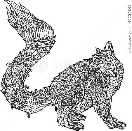 Adult coloring book page with cartoon lemur 44354849