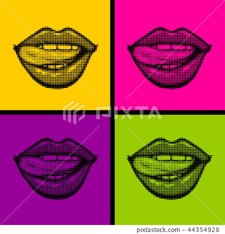 Open mouth woman lips tongue pop art style 44354928