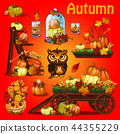 Set of elements to create a poster on theme of Halloween holiday party, greeting card on theme of 44355229